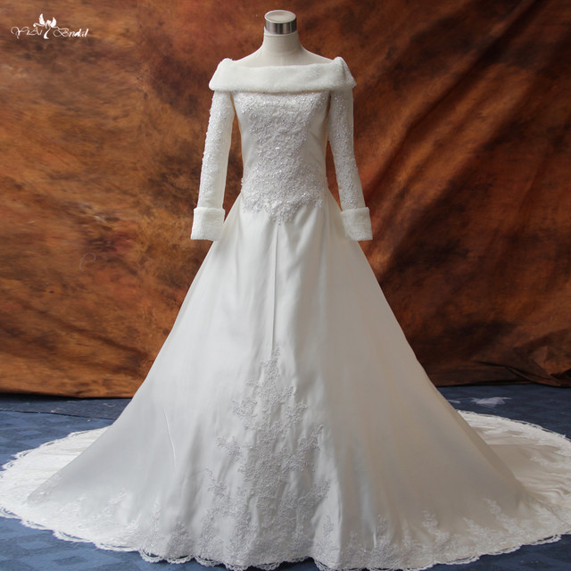 Online Shop RSW174 Long Sleeve Winter Wedding Dresses Fur ...