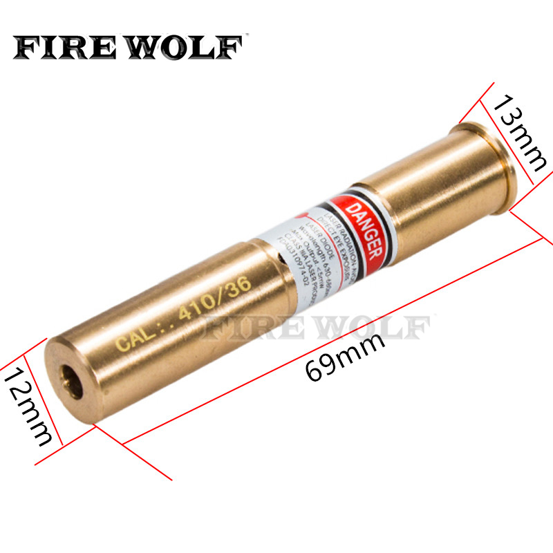 FIRE WOLF 410/36 Cartridge Red Laser Bore Sighter CAL: .410/36 Laser Boresight Copper Hunting .410 36 Laser Red Dot