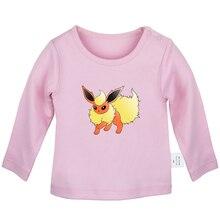 Футболки для новорожденных с принтом «Pokemon Flareon Glaceon Jolteon Leafeon Vaporeon», однотонные футболки с длинными рукавами для малышей