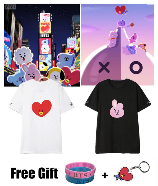 7dcc51cbf4a US $11.88 5% OFF|Free Gift Kpop BTS BT21 Cartoon Album Shirts Hip Hop  Casual Loose Clothes Tshirt T Shirt Short Sleeve Tops T shirt-in T-Shirts  from ...