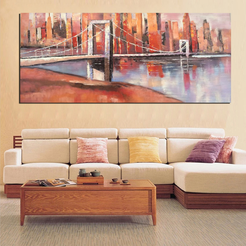 Hot Sale New Arrival Bridge and City Abstract Oil Paintings Print/Hand Painted On Canvas Wall Art Picture For Home Decor