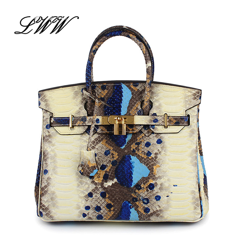 ФОТО New Style Serpentine Platinum Bag Genuine Leather Handbag Vintage Women Bag Colorful Snakes Tote Fashion Shoulder Bag