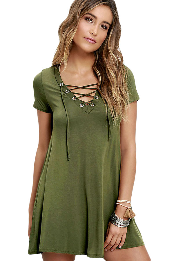New Fashion Women Vestido T Shirt Style Casual Lace Up Swing Dress 22671 Summer Casual Loose