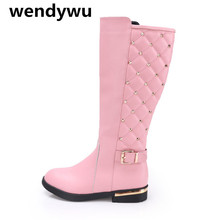 WENDYWU winter brand stud shoes toddler genuine leather boots for baby girls pink boots children fashion knee high boots
