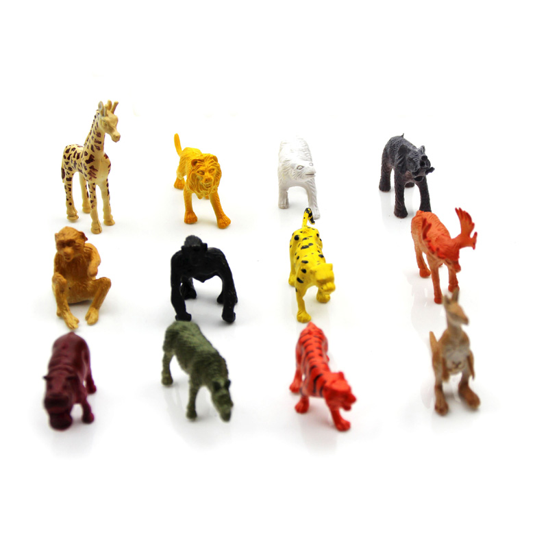 12PCS/set Plastic Zoo Animal Figure Tiger Leopard Hippo Giraffe Kids Toy Lovely Animal