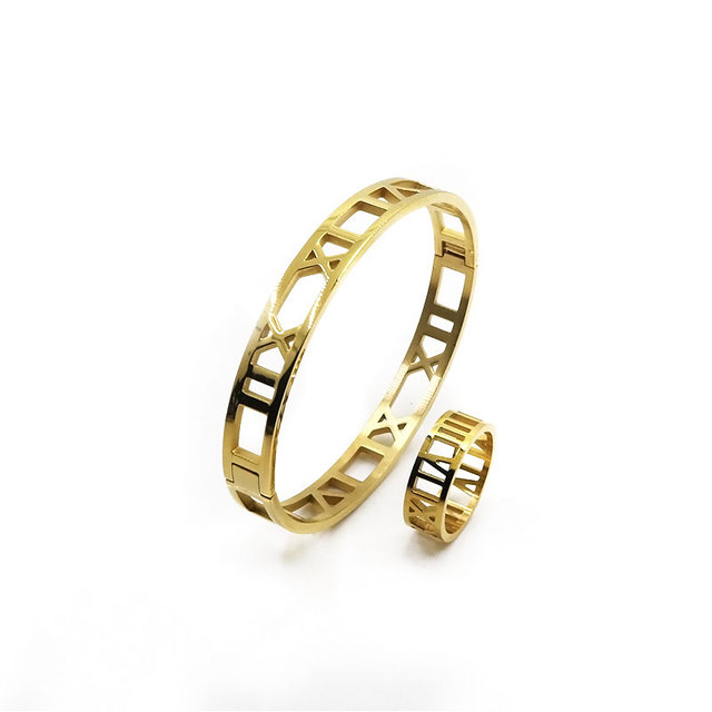 Fashion Girls Jewelry Hollow Out Roman Numeral Bracelets&Bangles Women Finger Ring Rose Gold Plated Stainless Steel Bangle