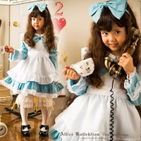 Alice In The Wonderland Cosplay Costume Alice Halloween Long Sleeve Dress For Kids New Free Shipping Height 90cm 140cm