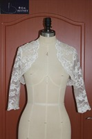 CJ434047 Real Picture Bolero Ivory White Wedding Cape Short Lace Jackets For Wedding Dresses