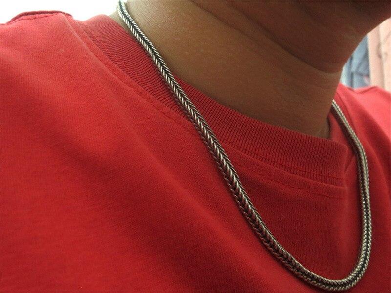 Solide en argent Sterling 925 tissé chaîne collier hommes 4mm carré Chunky collier mode Cool Thai argent hommes bijoux oxyde argent - 6