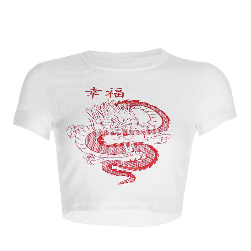 Branco caráter chinês dragão impressão t camisa das mulheres bodycon casual tshirt streetwear topos camiseta femme verão outono colheita topo