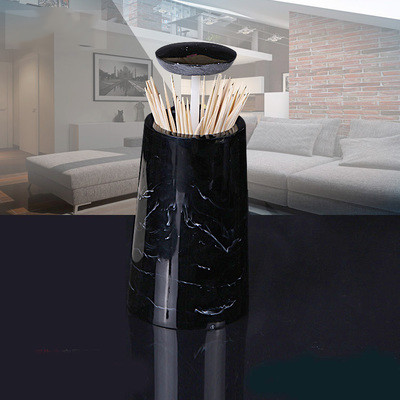 Европейская мода креативная мраморная текстура зубочистка коробка ручной давление коробка для хранения зубочисток настольная пепельница круглый ватный тампон коробка - Цвет: B