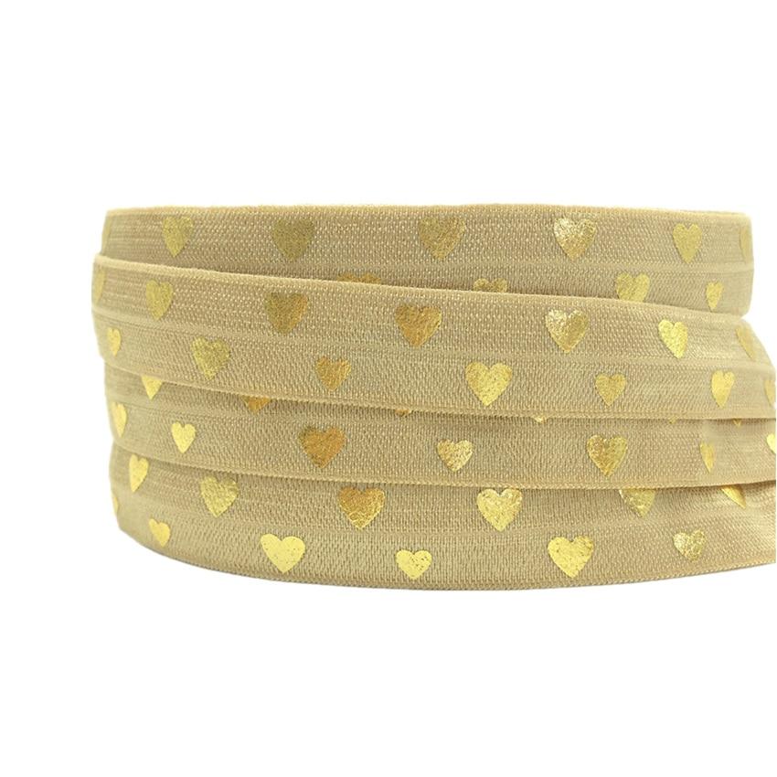 5Yards 16mm Gold Heart Print Fold Over Elastic FOE Elastic Ribbon DIY Hair Ribbon