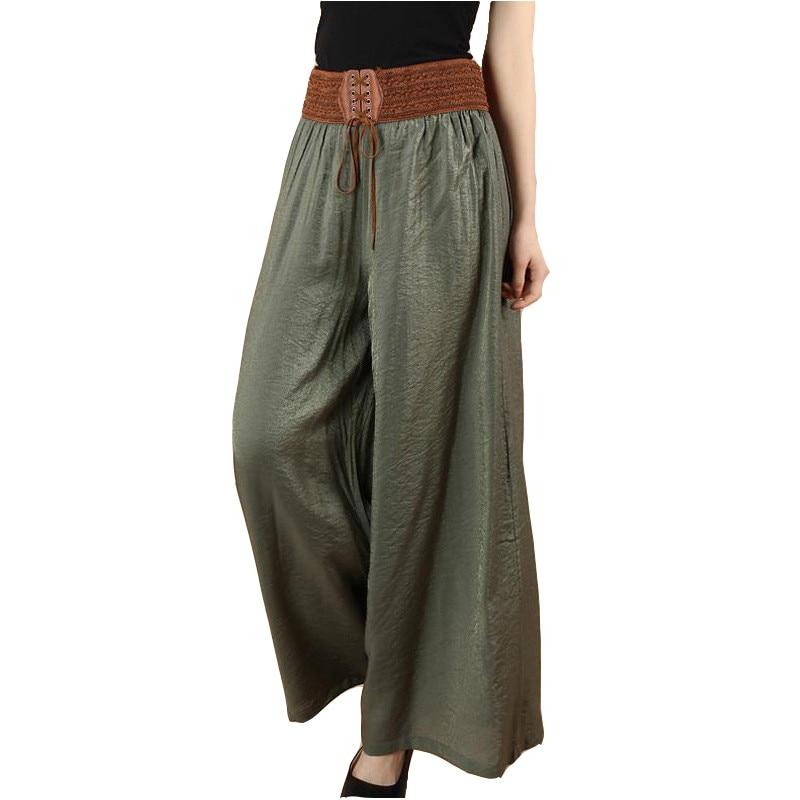 Large size   Wide     leg     Pants   Women 2019 Summer Loose Elegant High waist Casual   Pants   Elastic waist Big swing Bigfoot   Pants   Female