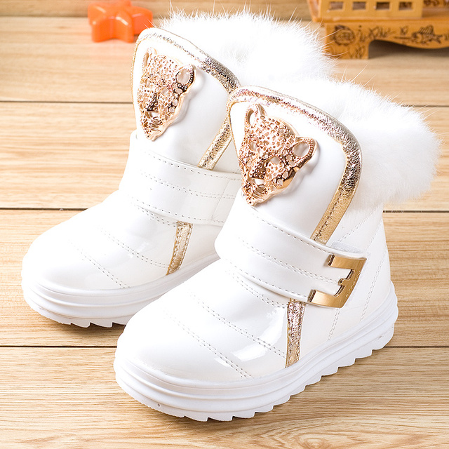 Fashion Children Boots Rabbit Fur Girls Snow Boots Waterproof PU Plush  Booties Female Child Winter Warm a78e2f1cce69