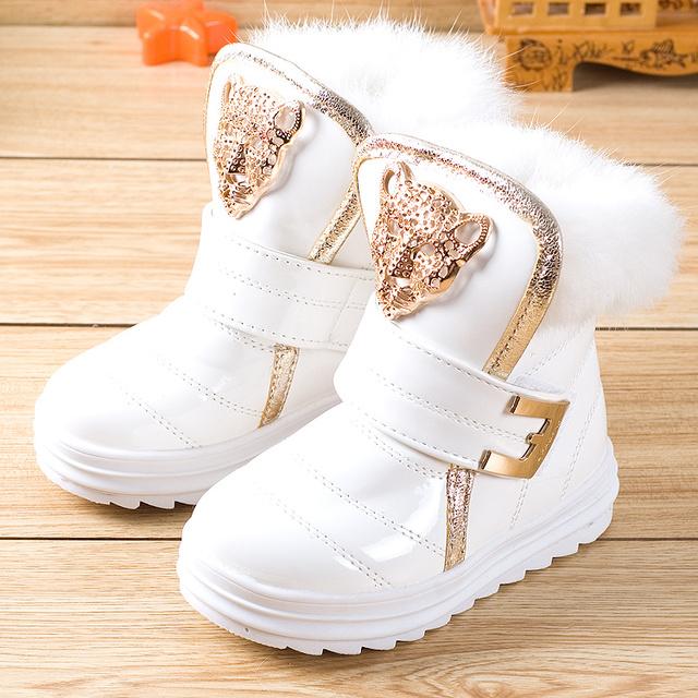 Moda Niños Botas Muchachas de la Nieve Botas de Piel de Conejo de LA PU Botines de Felpa Hembra Invierno Niño Zapatos Calientes (Pequeño/Niño grande)