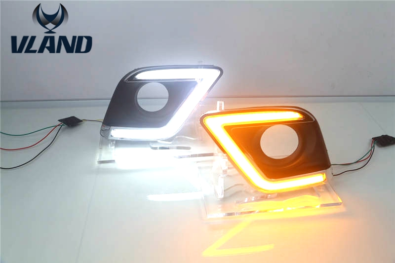 Free shipping Vland factory for Hilux Revo Vigo Daytime Running Light With Yellow Turning  light plug and play design free shipping hilux racing side stripe graphic vinyl sticker for toyota hilux first impressions
