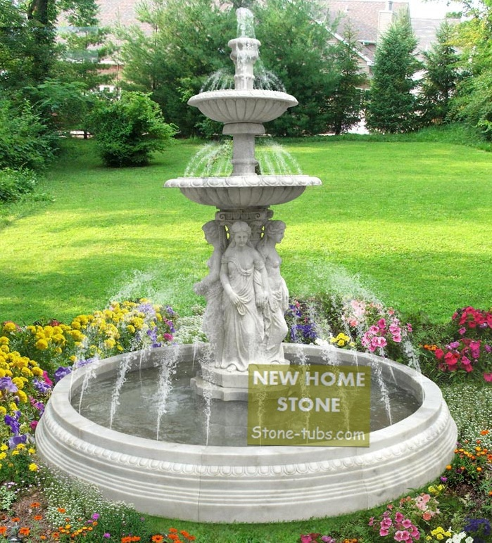solar garden fountains sale metal zen water outdoor gardens women figures statues large size white marble hand carved