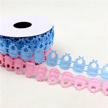 Birthday Party Lovely Stroller Baby Pinafore Blue Pink Design Embroidered Lace Trim DIY Ribbon Baby Shower Supplies 10 yard/roll