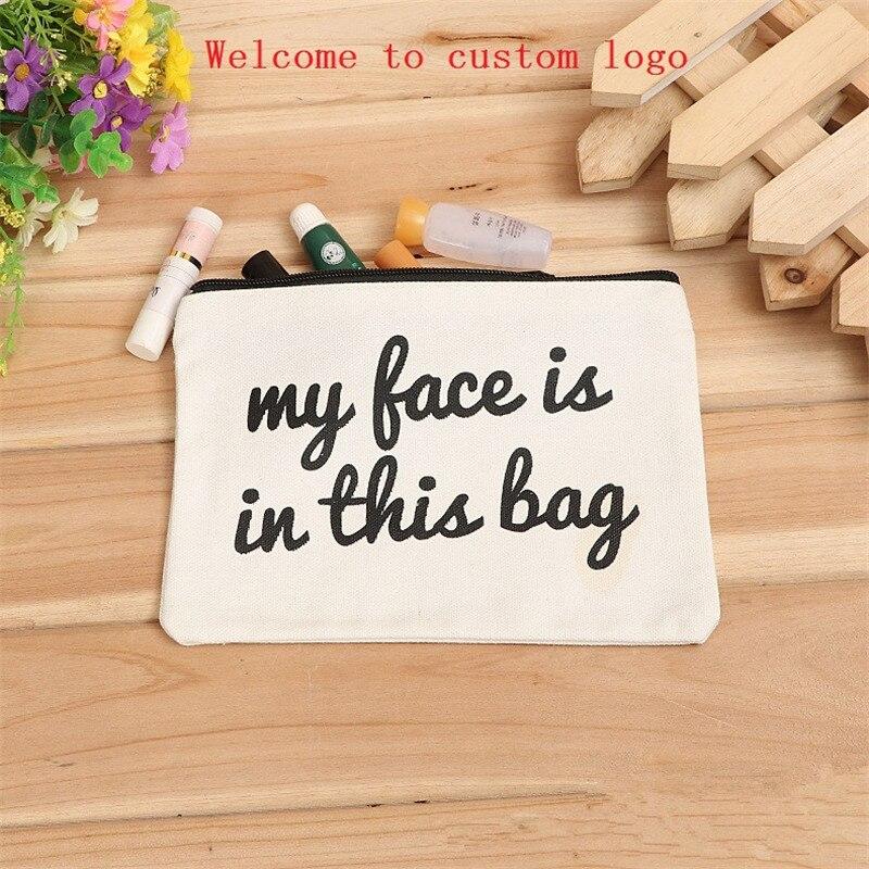 100pcs 19*15cm blank canvas zipper Pencil cases pen pouches cotton cosmetic Bags makeup bags Mobile phone clutch bag custom logo