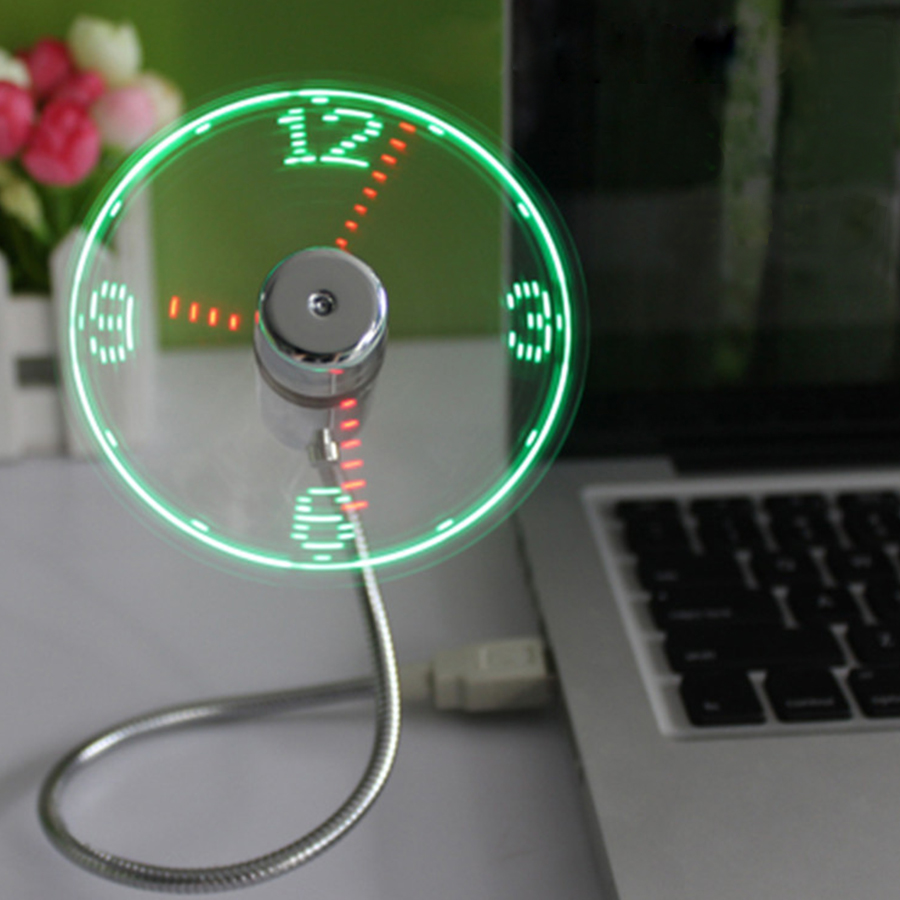 Mini USB Fan Gadgets Mini Flexible LED Light USB Fan Time Clock Desktop Clock Cool Gadget Time Display For PC Laptop Notebook lucog mini usb fan with led flashing light gooseneck cool time clock display usb flexible cooling fan for pc laptop notebook