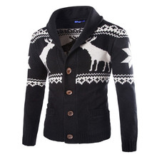 New Fashion Christmas Mens Full Sleeve Sweater Deer Pattern Cable Knit Crew Neck Sweater For Christmas Men Cardigan