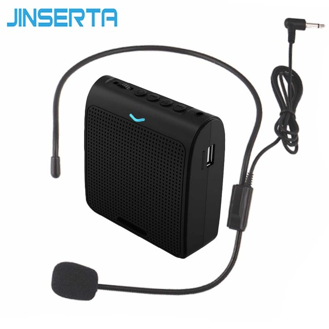 JINSERTA Portable Speaker Amplifier Mini Portable Voice Megaphone with Microphone USB TF Card Slot Waistband for Teaching