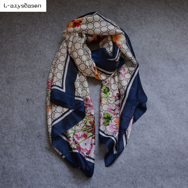L-azyseason 2018 Fashion Scarf Luxury Women Brand Silk Scarf Women Scarves Shawl High Quality Print hijab wrap 180*90 CM
