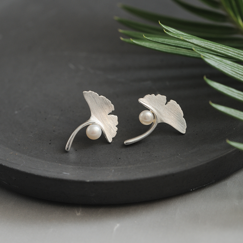 Silver Earrings Female Ginkgo Earrings Sweet Imitation Pearl Earrings 925 Fashion Jewelry For Women Girl Birthday Gift