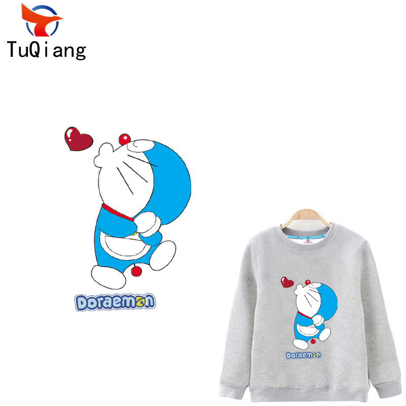 Love heart Cat Doraemon Ironing Stickers Heat Transfer DIY Accessory Clothes Patches for lovers Washable Appliques27*23CM
