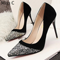 Sexy Glitter Black Silver High Heels Pointed Toe Patchwork Flock Pumps Stiletto Dress Party Wedding Shoes WHH29