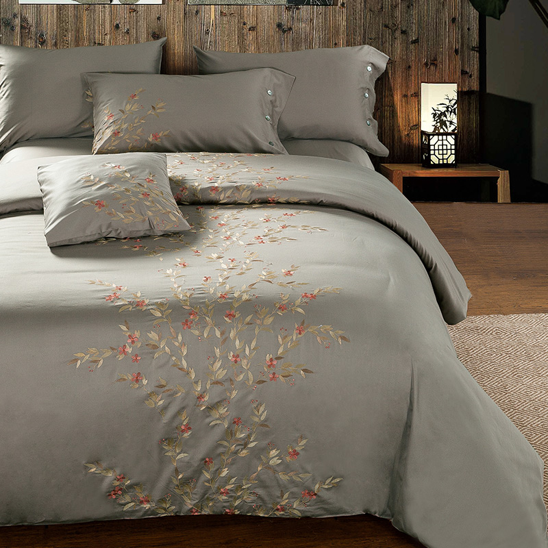 100% Cotton Noble Bedding Set Home Textile Oriental Embroidery Duvet Cover Sets King Queen Size Solid Color Bedclothes Bed Sheet