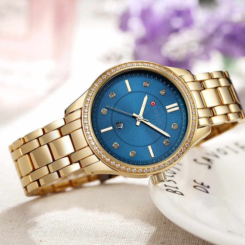 CURREN Womens Watch Rhinestone Quartz Watch New Fashion Stainless Steel Gold Bracelet Gem Green Dial Female Clock Montre Femme