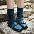 2017 Diseño Especial Mujeres Zapatos Botas Talones Planos de Cuero Genuino Cómodo Botas de Media Pantorrilla