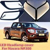 one set Car bumper headlight for Nissan Navara NP300 daytime light car accessories 2014 2015 2016year LED DRL Navara fog light