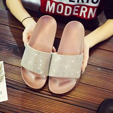 US $11.52 25% OFF|2018 Chic Women Slippers Flip Flops Peep Toe Rhinestone Sandals Summer Glitter Crystal Platform Shoes Woman Flat Beach Slides-in Slippers from Shoes on Aliexpress.com | Alibaba Group