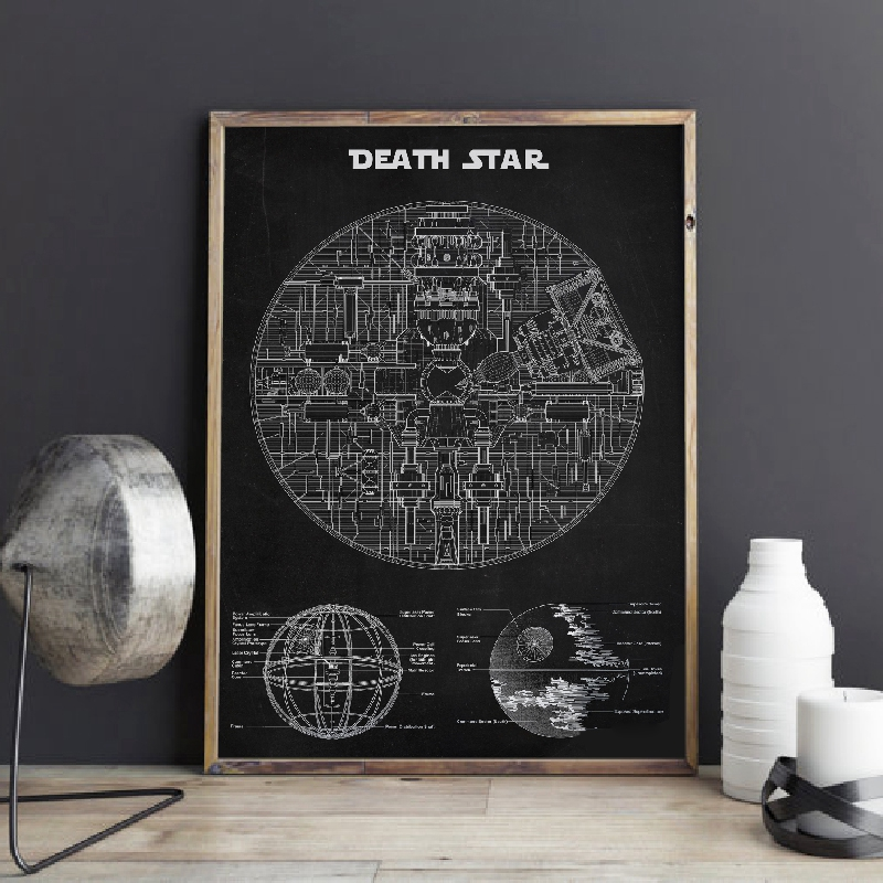Star Wars Death Star Blueprint Wall Art Canvas Posters Prints Schematic Diagram Art Painting Picture For Living Room Home Decor
