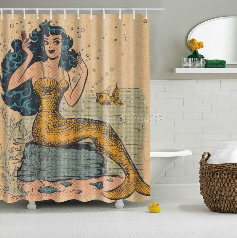 Custom Shower Curtain Retro Golden Mermaid Design Bathroom Waterproof Mildewproof Polyester Fabric With Multi Size 12 Hooks In Curtains From Home