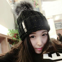 The letter B Winter Youth Female tide South Korea knitting wool turtleneck cap thickened ear all-match students.  M218