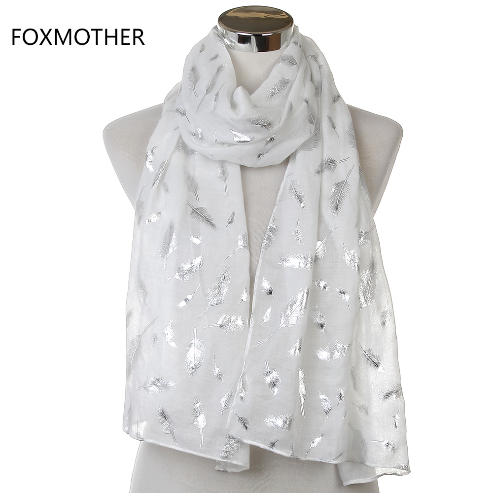 Free Shipping 2018 New Brand Fashionable Ladies Shiny White Yellow Purple Color Bronzing Foil Silver Feather Scarves For Womens