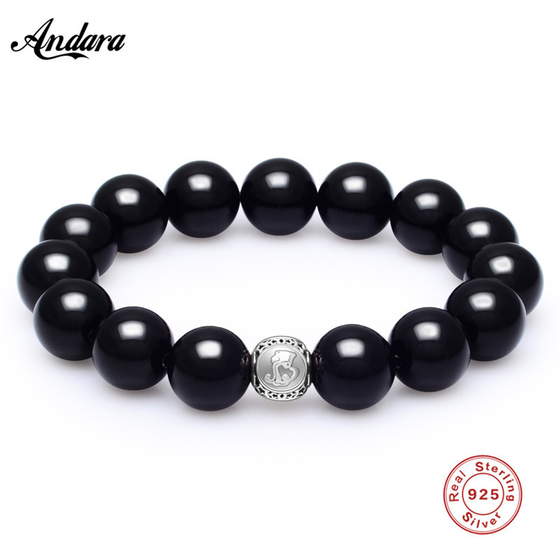 купить Sterling Silver Aquarius Star Sign Zodiac Bracelet Natural Stone Men Bracelets For Male Fashion Jewelry по цене 1139.64 рублей