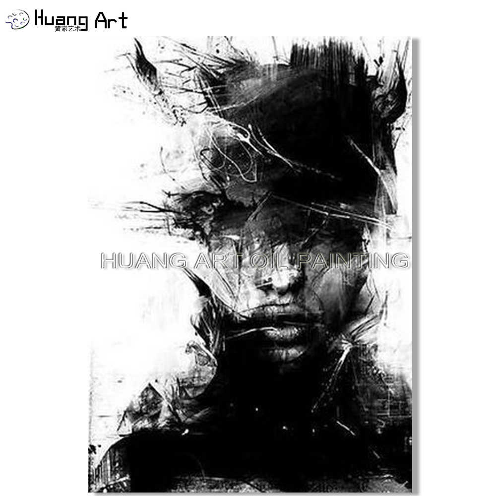 Hand Painted White And Black Figure Oil Painting On Canvas Modern Abstract Man Face Portrait Wall Painting For Living Room Decor