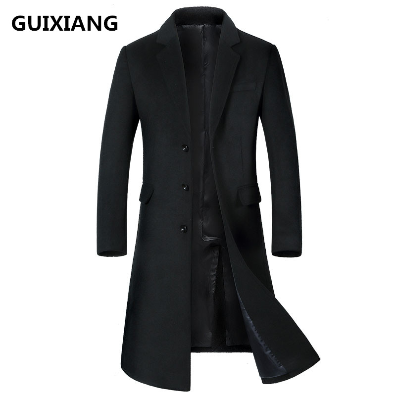 2018 Winter Overcoat Men's fashion Long style woolen trench coat jacket Men's casual coats jackets wool Outerwear men windbreak(China)