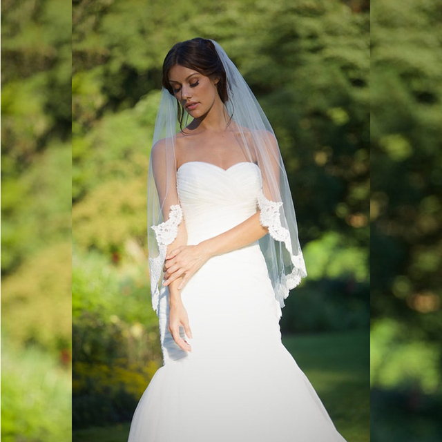 One Layer Delicate Lace Edge Fingertip 115cm length Wedding Bridal Veil Designer Style High Quality Tulle