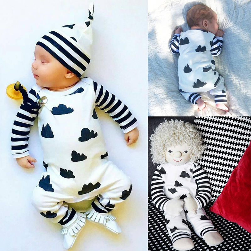 Newborn Baby Boy Clothes Striped Cotton Romper Jumpsuit Outfits Printed Baby Boys Rompers 0-18M cotton i must go print newborn infant baby boys clothes summer short sleeve rompers jumpsuit baby romper clothing outfits set