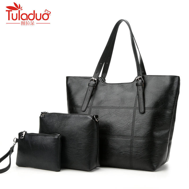 High Quality 3Pcs/Lot Women Bag Casual Tote Women Messenger Bags Handbag Set PU Leather Composite Bag Women Crossbody Bags Black