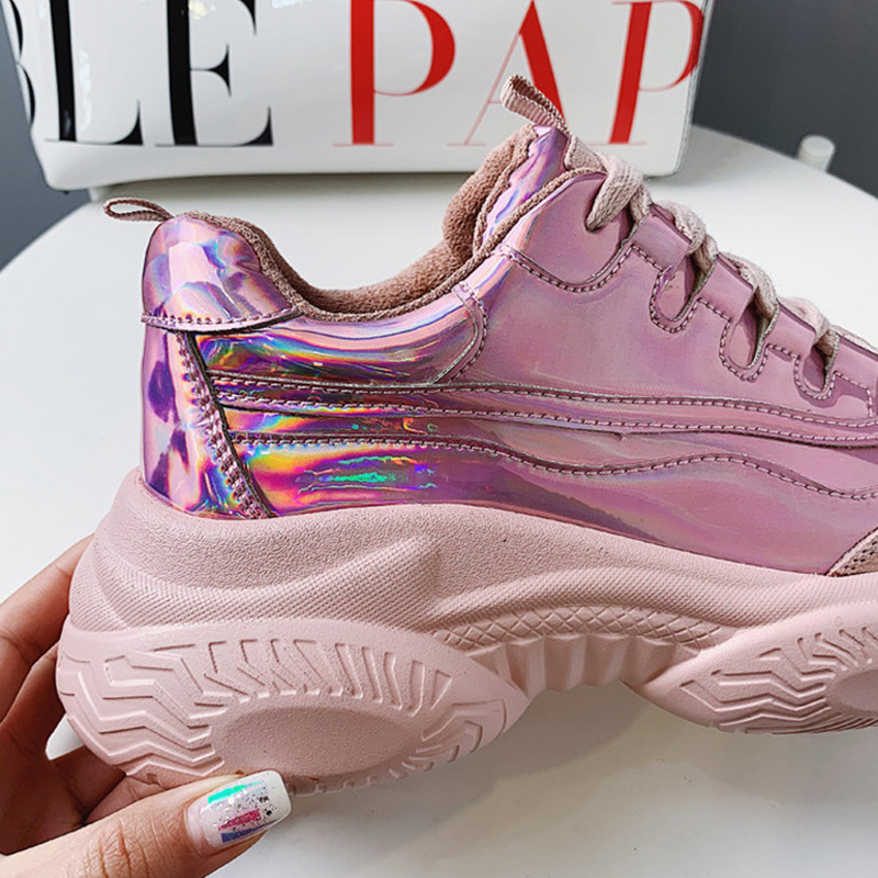 forme Casual silver Creepers 2019 Gold Plate Madame Chaussures Femmes De Harajuku 3xl35 Fille Argent Punk Sneakers 3xl35 Up 3xl35 Automne Lace pink Printemps Femelle xxvBX
