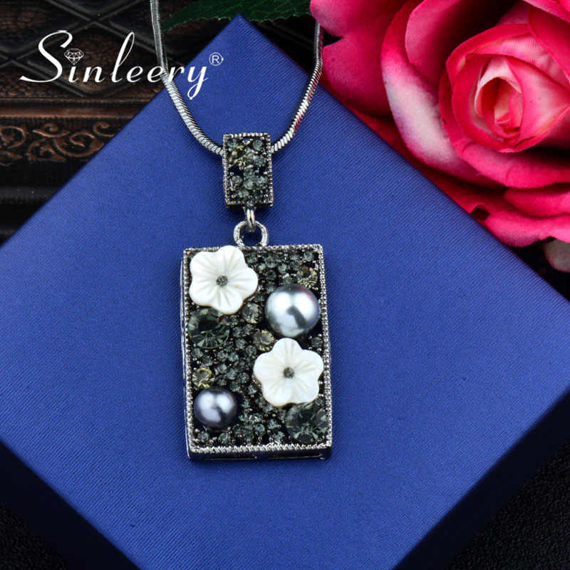 SINLEERY Retro White Shell Flower & Grey Simulated Pearl Square Long Necklace Pendant Women Jewelry Accessories SSH