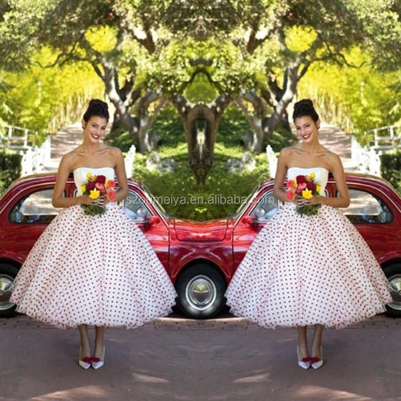 Onw784 chiffon tea length 50s vintage polka dot dress for for 50 s pin up wedding dresses