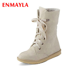 ENMAYER snow boots fashion female flat wedding sexy pu ladies motorcycle for women and womens autumn winter shoes Martin