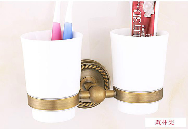 European solid brass bathroom accessories antique carved towel rack double cup brushed tissue box bathroom hardware set